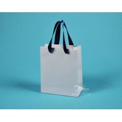 Papírové tašky dárkové  JIŘINA 18 x 9 x 21 bílý ofset modrá stuha
