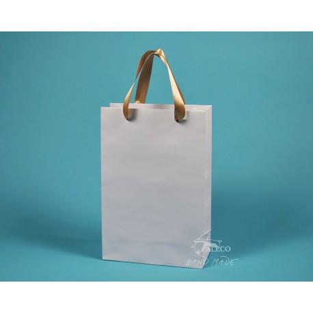 Papírová taška JOSEFÍNA 22 x 9,5 x 33 bílý ofset zlatá stuha