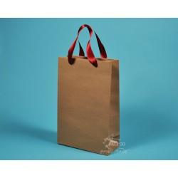 Papírová taška JOSEFÍNA 22 x 9,5 x 33 hnědý kraft červená stuha