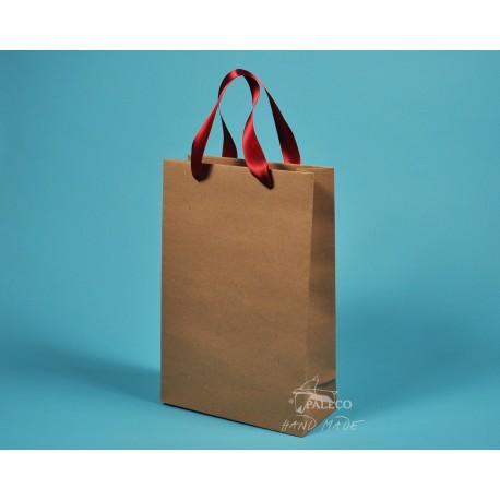 dárková papírová taška JOSEFÍNA 22 x 9,5 x 33 hnědý kraft červená stuha
