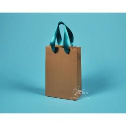 Papírové tašky hnědé dárkové  JUSTÝNA 16x8x24 papír 130g zelená stuha