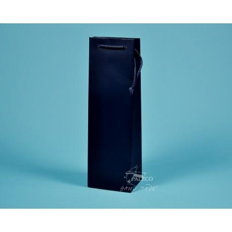 papírová taška ALEX (na víno) 11,5x9x37 tmavě modrá  matné lamino