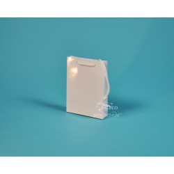 Papírové tašky DENISA 13x3,5x17,5 bílý ofset lesklé lamino