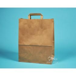 papírová taška hnědá EKO 32x17x41 vyšší gramáž,  hnědý kraft s plochým uchem