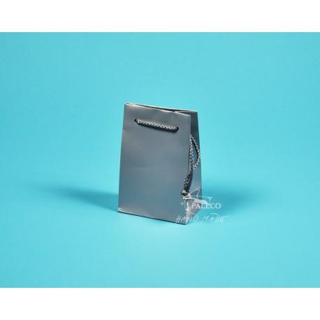 papírová taška GABRA 11x6,5x16 stříbrná