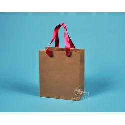 papírové tašky dárkové hnědé KAROLÍNA 20x10x23  kraft 130 růžová stuha