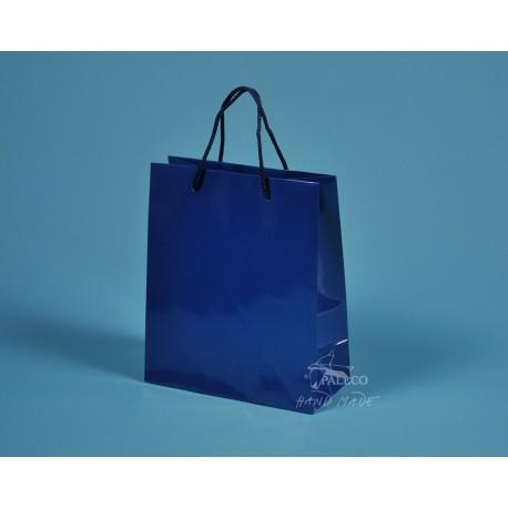 papírová taška KAROLÍNA 20x10x23 modrá lesklé lamino