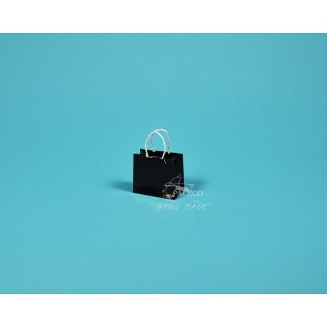 papírová taška Málinka 7,5 x 4 x 6,5 150g černá křída lesklé lamino
