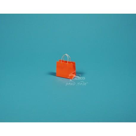 papírová taška Málinka 7,5 x 4 x 6,5 oranžová lesklé lamino