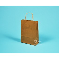papírová taška TWIST 18x7x24 hnědý recyklovaný kraft 110g
