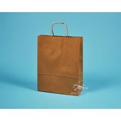 papírové tašky s krouceným držadlem TWIST 24x10x31 hnědé, recyklovaný kraft 110g