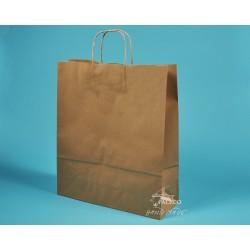 papírové tašky TWIST 36x12x41 hnědý recyklovaný s krouceným uchem