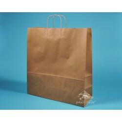 papírové tašky přírodní hnědé TWIST 54x15x49 recyklovaný  kraft 110g s krouceným uchem