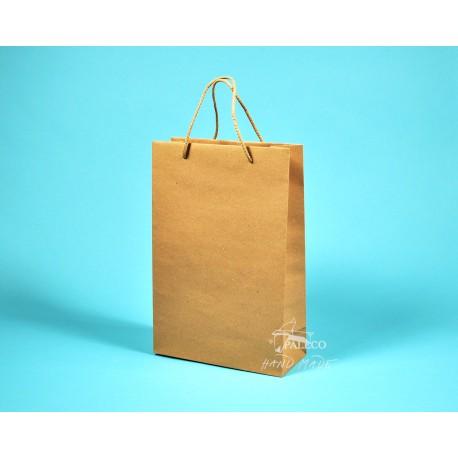 papírová taška JUSTÝNA 16x8x24 hnědý recyklovaný papír