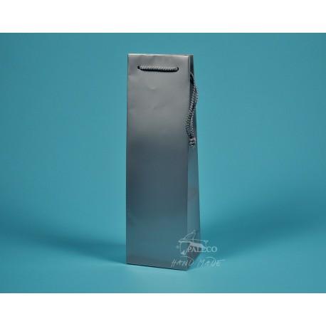 papírová taška ALEX (na víno) 11,5x9x37 stříbrná lesklé lamino
