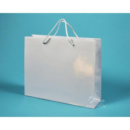 papírová taška PAVLÍNA 38x10x30 bílá lamino