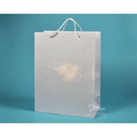 papírová taška TOM 34x15x44 bílá lamino