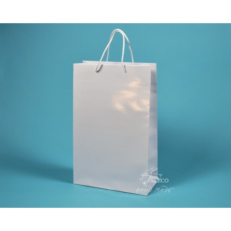 papírové tašky dárkové BÁRA 25x9x37 bílé lamino