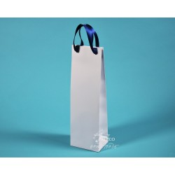 papírové tašky na víno ALEX  se stuhou 11,5x9x37 bílá - modrá