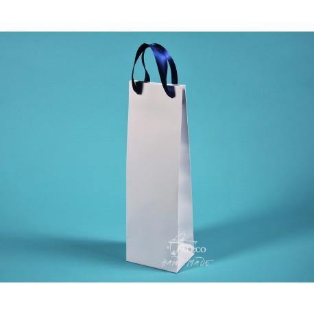 papírové tašky na víno ALEX  se stuhou 11,5x9x37 bílá