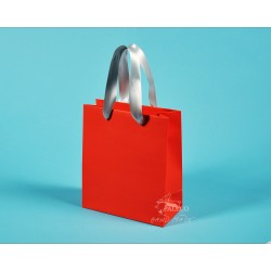 Papírové tašky KAROLÍNA 20x10x23 ofset 140g oranž, šedostříbrná stuha