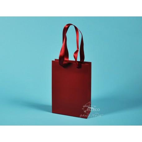 Papírové tašky JUSTÝNA 16x8x24 křída 170g, červená stuha, ML
