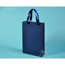 papírové tašky BÁRA 25x9x37 modrý TWILL, stuha