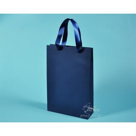 papírové tašky BÁRA 25x9x37 modrý TWILL, modrá stuha