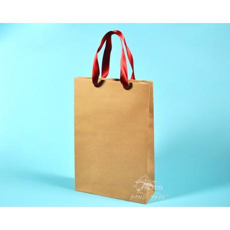 papírové tašky BÁRA 25x9x37 hnědý recyklovaný s červenou stuhou