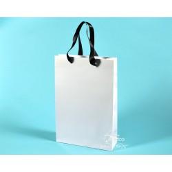 papírové tašky BÁRA 25x9x37 bílé, ofset 140g se stuhou, lesklé lamino