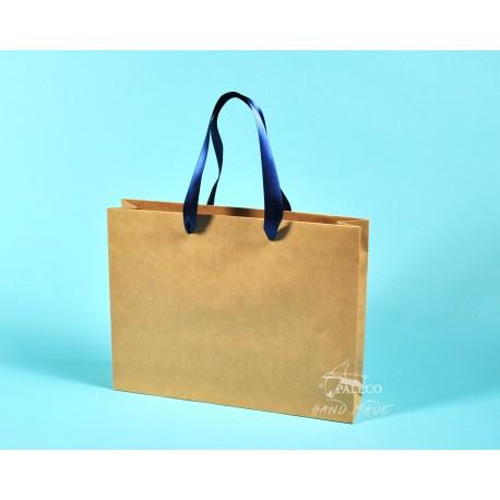 papírové tašky RENATA  s modrou stuhou, 32x8x25 hnědý papír