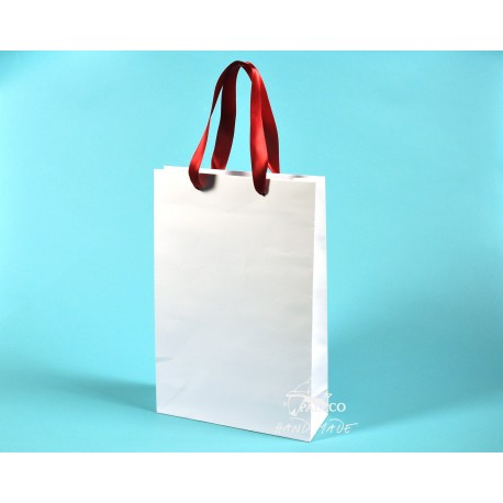 papírové tašky BÁRA 25x9x37 bílá, ofset 140g se stuhou