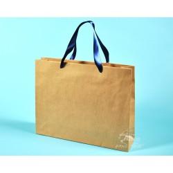 papírová taška PAVLÍNA 38x10x30 hnědý přírodní papír, modrá stuha