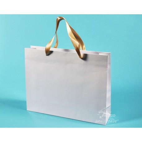 papírové tašky PAVLÍNA 38x10x30 bílé, lesklé lamino, modrá stuha