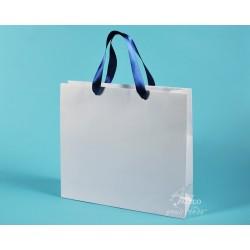 papírové tašky KVIDO 36x12x33 bílý ofset 140g modrá stuha
