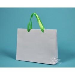 papírová taška RENATA 32x8x25 bílý ofset zelená stuha