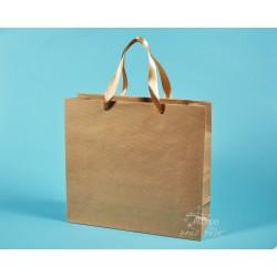 papírové tašky hnědé KVIDO 36x12x33 přírodní HS 110g zlatá stuha