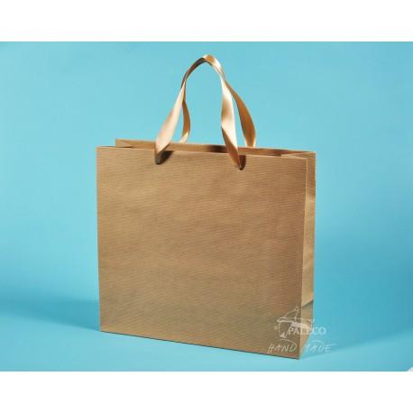 papírové tašky KVIDO 36x12x33 přírodní HS 110g zlatá stuha