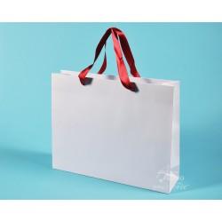 papírové tašky PAVLÍNA 38x10x30 bílý ofset 140g červená stuha