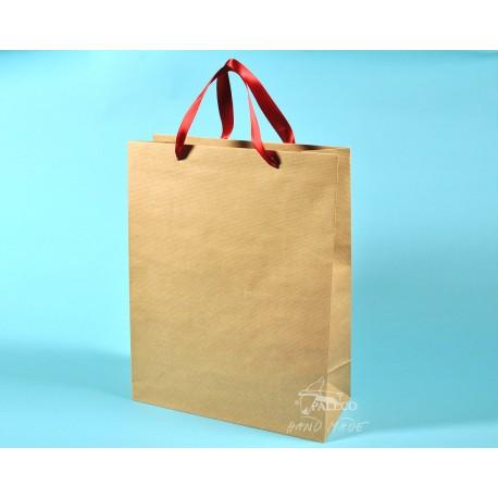 papírové tašky TOM 34x15x44 přírodní HS 110g červená stuha