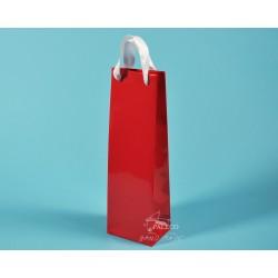 Papírové tašky ALEX (na víno) 11,5x9x37 červená lesklé lamino bílá stuha