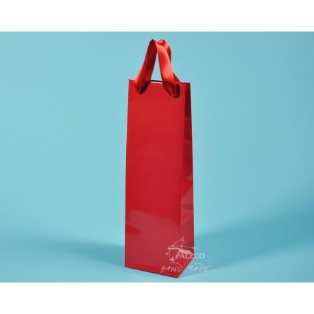 Papírové tašky ALEX (na víno) 11,5x9x37 červená 170g  lesklé lamino červená stuha