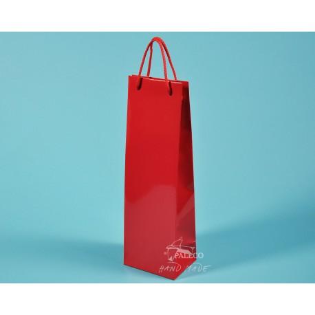papírová taška ALEX (na víno) 11,5x9x37 170g červená křída lamino