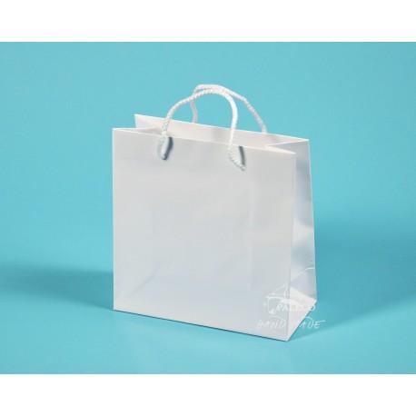 papírové tašky MIRIAM 20x9x20 bílá křída 135g, lesklé lamino