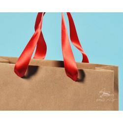 papírové tašky trávové BÁRA 25x9x37 hnědý travní papír, stuha