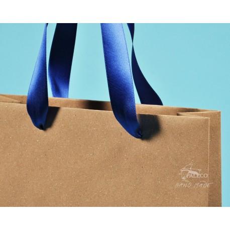 papírové tašky trávové BÁRA 25x9x37 hnědý travní papír s modrou stuhou