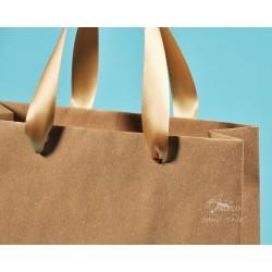 papírové tašky trávové BÁRA 25x9x37 hnědý travní papír se zlatou stuhou