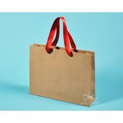 papírové tašky trávové RENATA 32x8x25 hnědý travní papír kompostovatelný, stuha