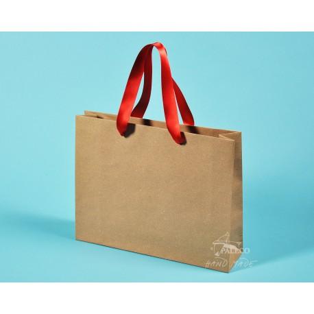 papírové tašky trávové RENATA 32x8x25 hnědý travní papír kompostovatelný